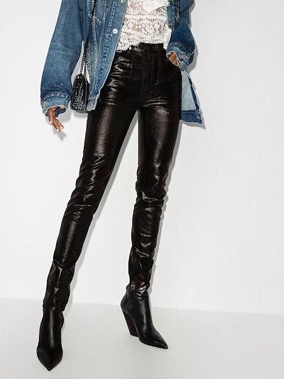 skinny vinyl trousers