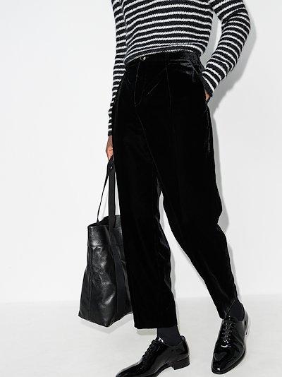 straight leg velvet trousers