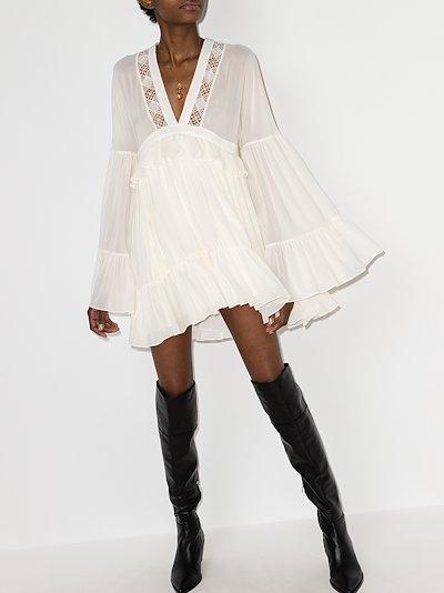 V-neck lace insert mini dress