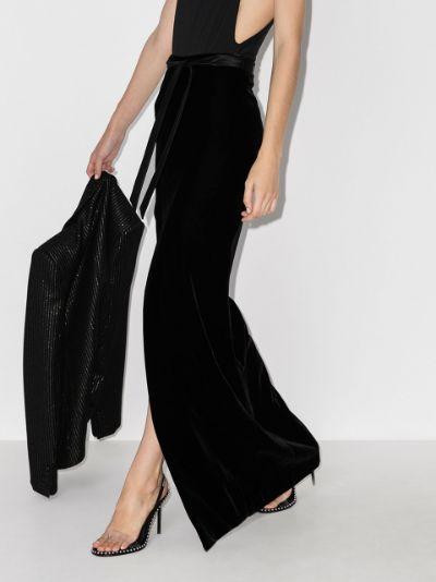 velvet maxi skirt