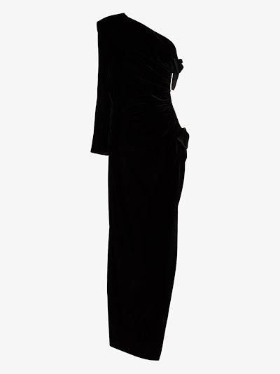 velvet one shoulder bow gown