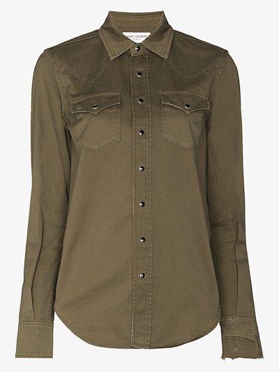 Western style stonewash shirt