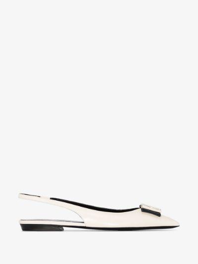 white Anais slingback leather pumps