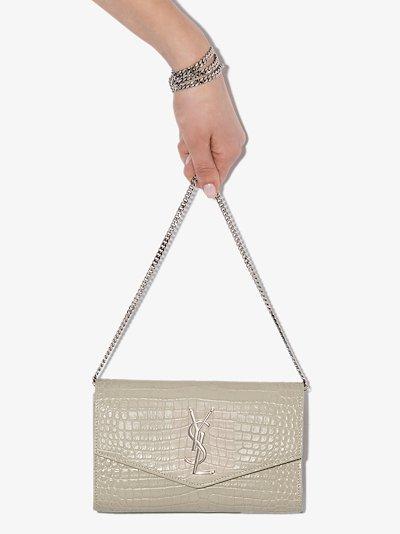 white mock croc logo leather shoulder bag