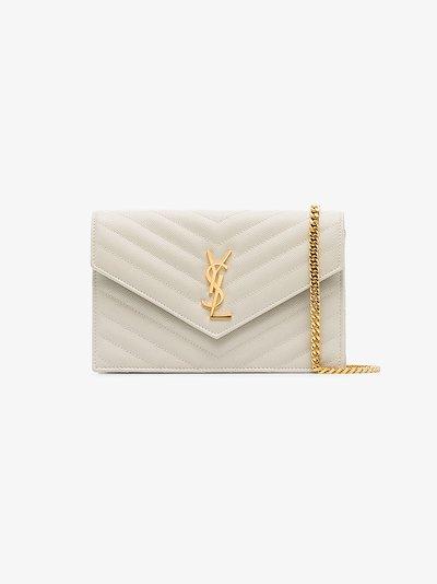 white Monogram leather cross body bag