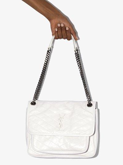 white Niki medium leather shoulder bag
