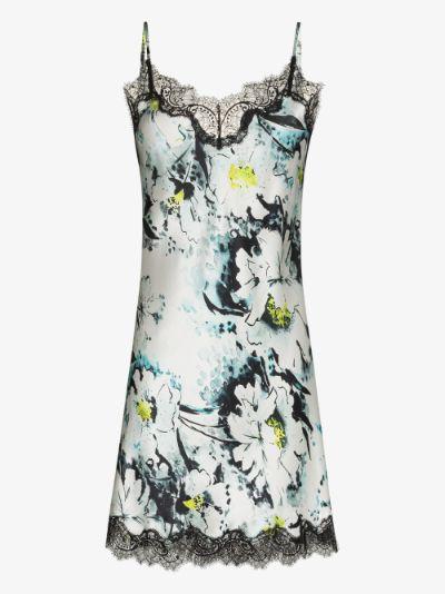 Floral Lace Trim Silk Nightdress