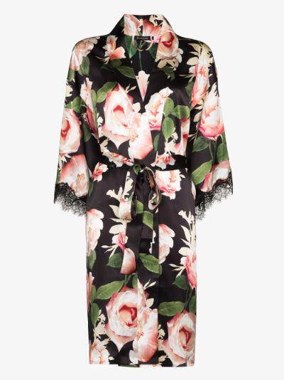 floral lace trim silk robe