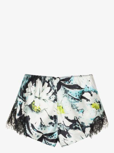 floral lace trim silk shorts