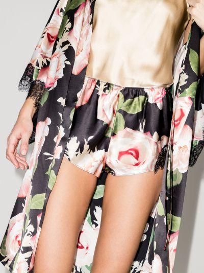 lace trim silk shorts
