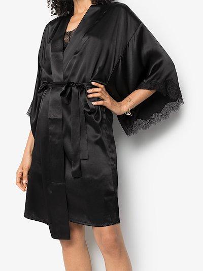 Scarlett lace trim silk kimono robe