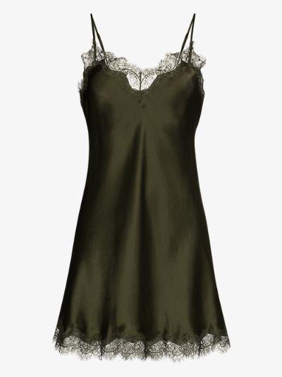 Scarlett lace trim silk nightdress