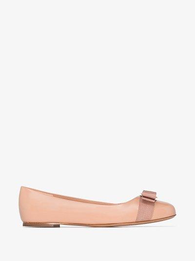 beige varina patent leather ballet pumps