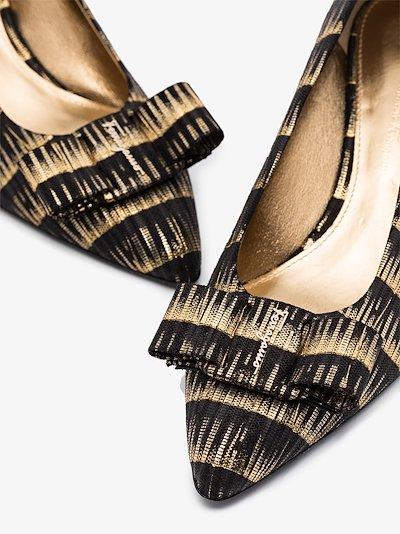 black and gold Viva 55 striped pumps