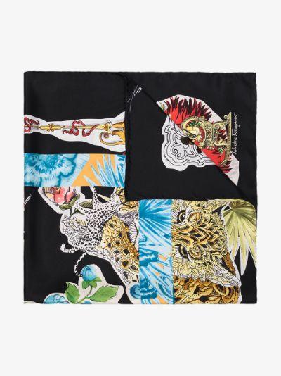 black collage print silk scarf