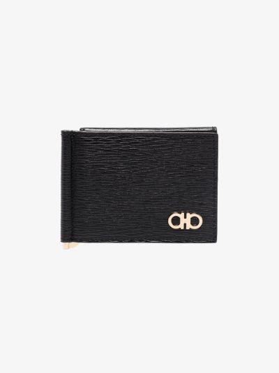 black Gancini clip leather wallet