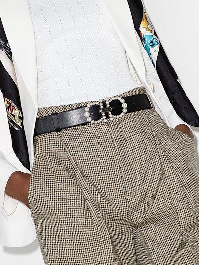 black Gancini embellished leather belt