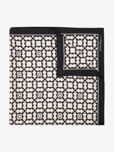 black Gancini Galoure Printed Silk Scarf