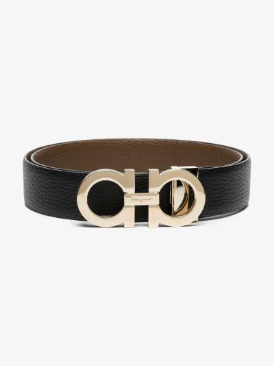 Black Gancini Grained Leather Belt