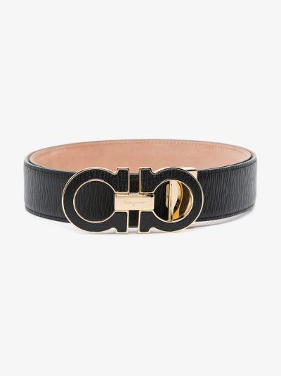 black Gancini leather belt