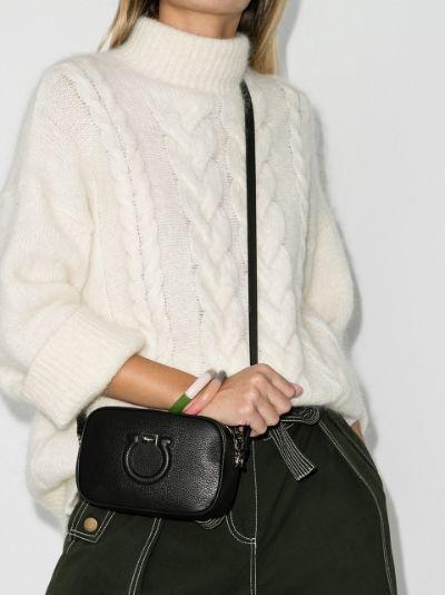 black Gancini leather camera bag