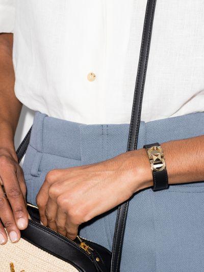 black Gancini leather cuff bracelet