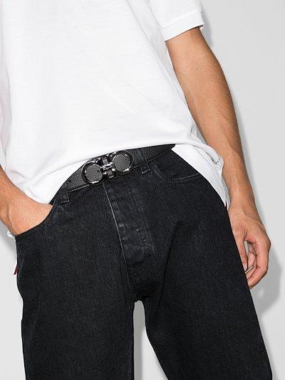 Black Gancini logo buckle leather belt