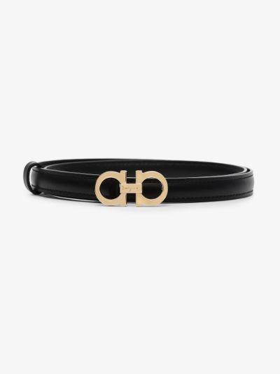 black Gancini slim leather belt