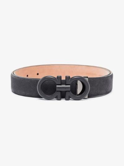 black Gancini stromboli leather belt