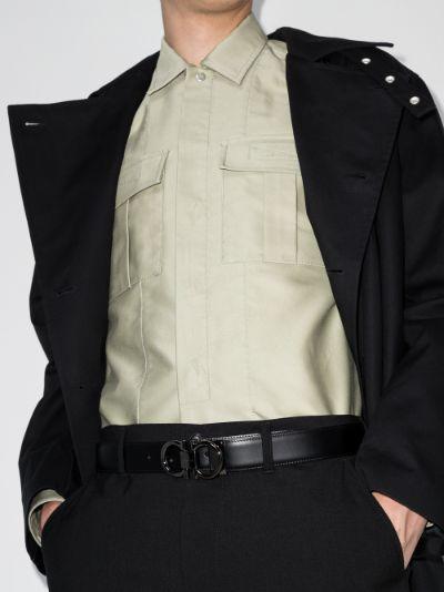 Black logo adjustable leather belt