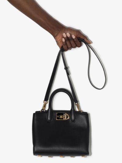 black studio leather top handle bag