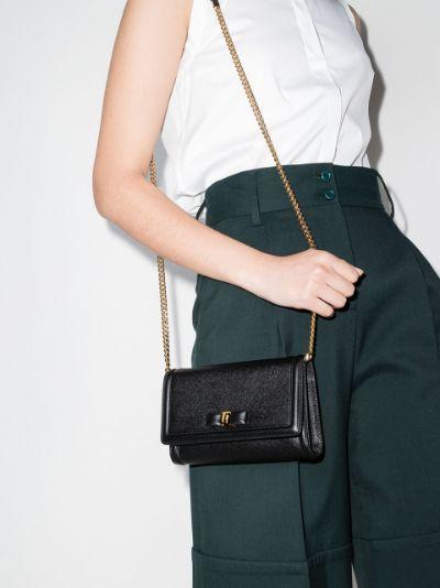 black Vara bow chain leather mini bag