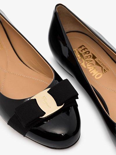 black Varina patent leather ballet flats
