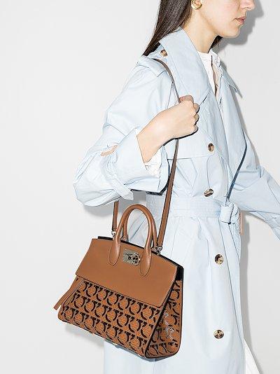 Brown Studio Gancini small leather top handle bag