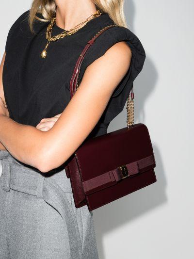 brown Vara bow detail leather shoulder bag