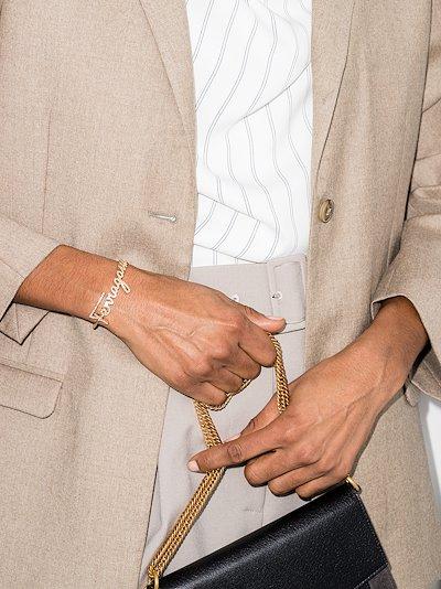 gold tone cursive crystal cuff bracelet