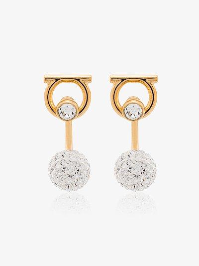 Gold tone Gancini crystal earrings