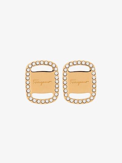 gold tone Vara Plate logo earrings