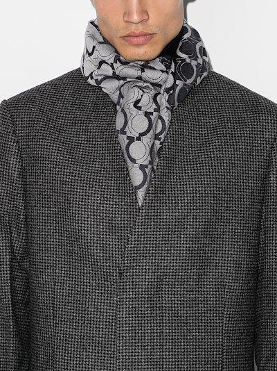Grey Gancio logo wool scarf