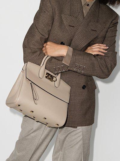 grey studio medium leather top handle bag