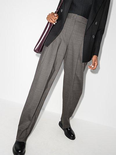 high waist double pleated straight leg trousers
