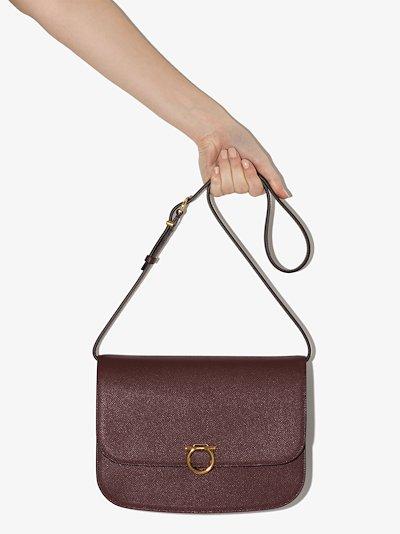 maroon Gancini leather shoulder bag