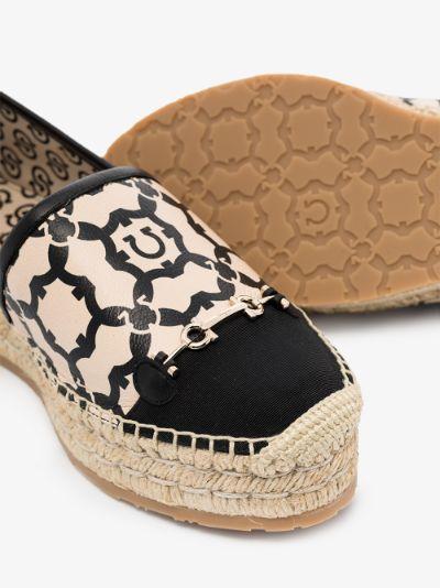 neutral Gancini Galore leather espadrilles
