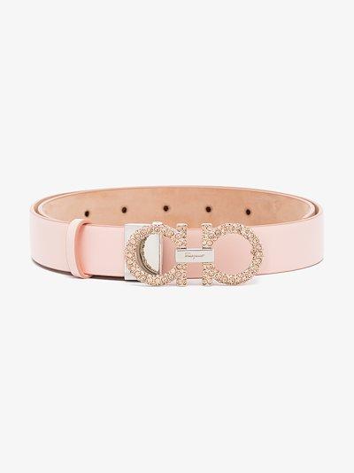 pink Gancini crystal leather belt