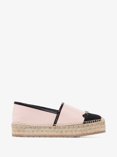 pink Gancini leather espadrilles