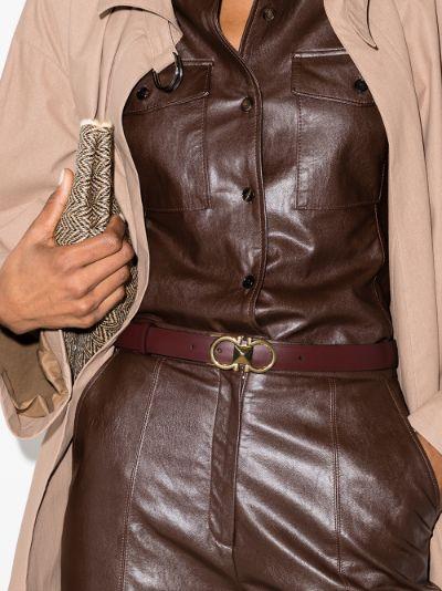 red Gancini leather belt
