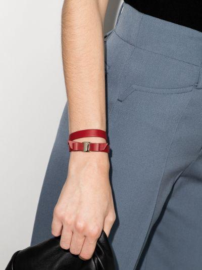 red Vara Bow leather wrap bracelet