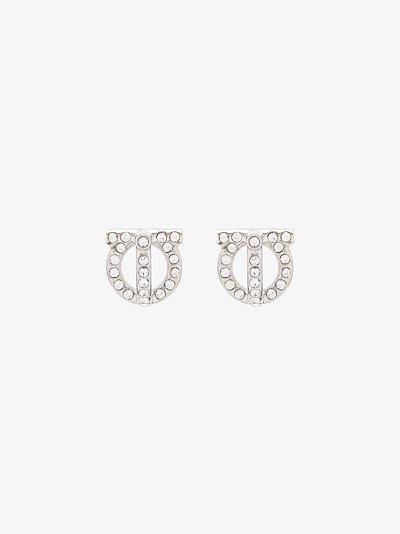 silver tone Gancini crystal earrings