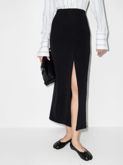 Knife straight fit midi skirt