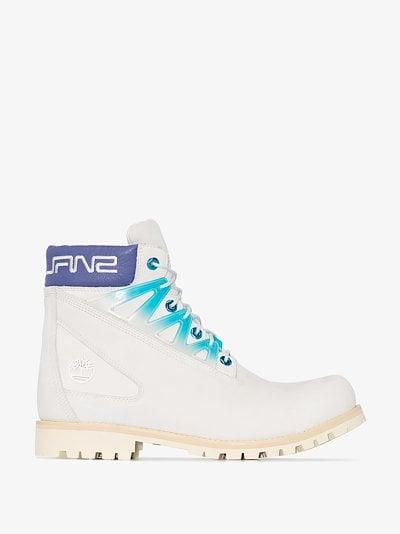 X Timberland white logo boots